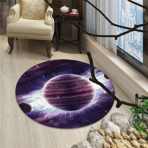 Galaxy Round Rugs Outer Space Theme Planets Saturn Mars Neptune Science Fiction Solar Scene ArtprintOriental Floor and Carpets Mauve Purple by smallbeefly