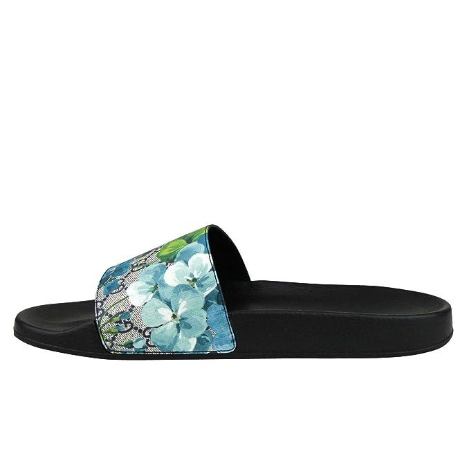 ad4b108119c6 Amazon.com  Gucci Bloom Print Blue Supreme GG Canvas Flower Slide Sandals  407345 8498 (14 G   15 US)  Shoes