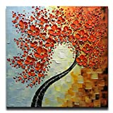 Asdam Art-Red Mapple Square 3D Paintings Wall Art(32x32inch)