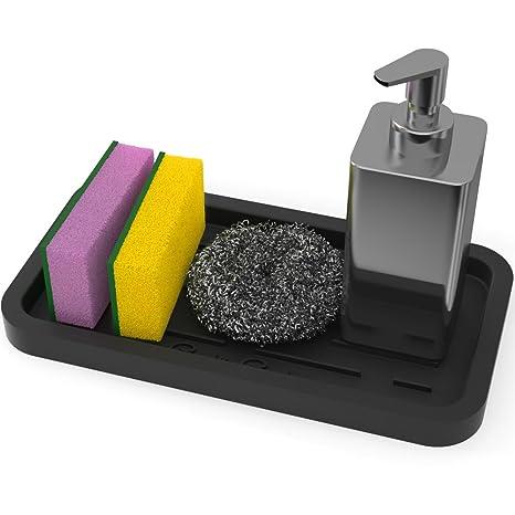 Sponge Holder - Kitchen Sink Organizer - Sink Caddy - Silicone Sink Tray -  Soap Holder - Spoon Rest - Multipurpose Use (Black)