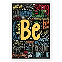 Lab No. 4 Be Happy, Strong, Brave Life Inspirational Quotes Collage Wall Decor Poster