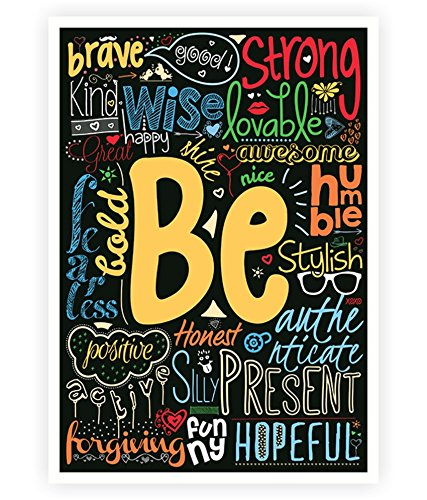 Be Happy, strong, brave Life Inspirational Quotes Collage Wall Decor Poster  In A3 (16.5\