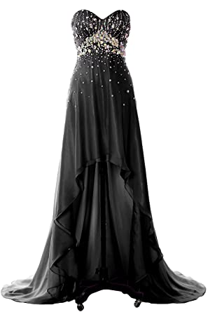 9447c67ec74 MACloth Women Hi Lo Crystal Long Prom Homecoming Dress Formal Evening Party  Gown (2