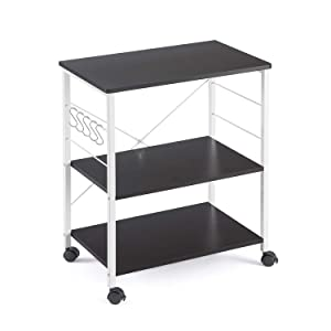 Mr IRONSTONE 3-Tier Kitchen Baker's Rack Utility Microwave Oven Stand Storage Cart Workstation Shelf (Dark Brown)