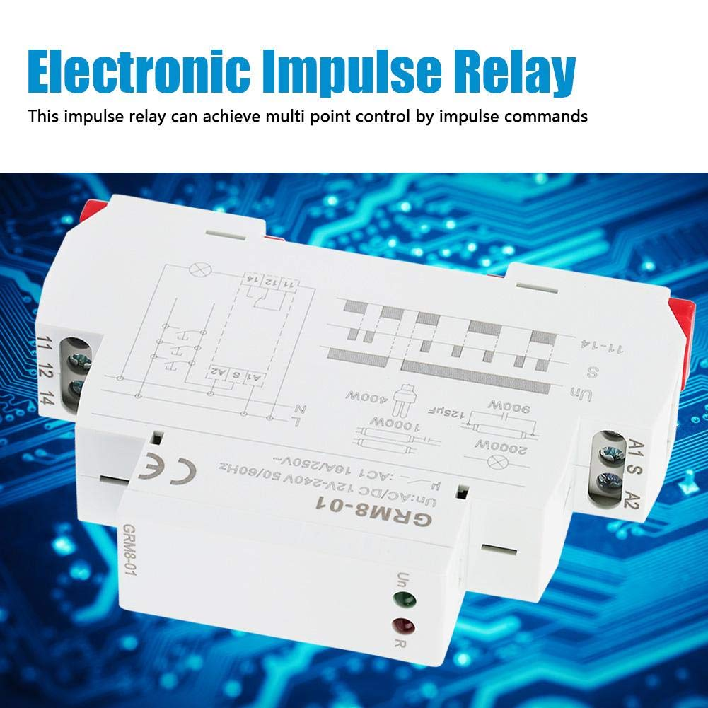 Mugast GRM8-01 Din Rail Electronic Impulse Relay Latching Relay Memory Relay with LED Indicator Stable performance AC//DC 12-240V