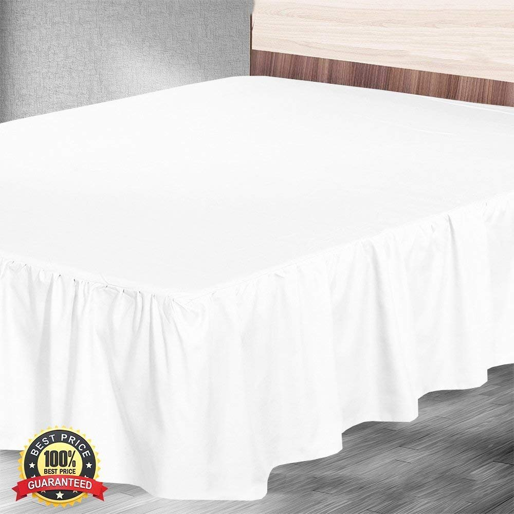 Ruffled Bed Skirt with Split Corners Three Side Coverage, Easy fit, Made Brushed Microfiber (Queen 18 inches, White)