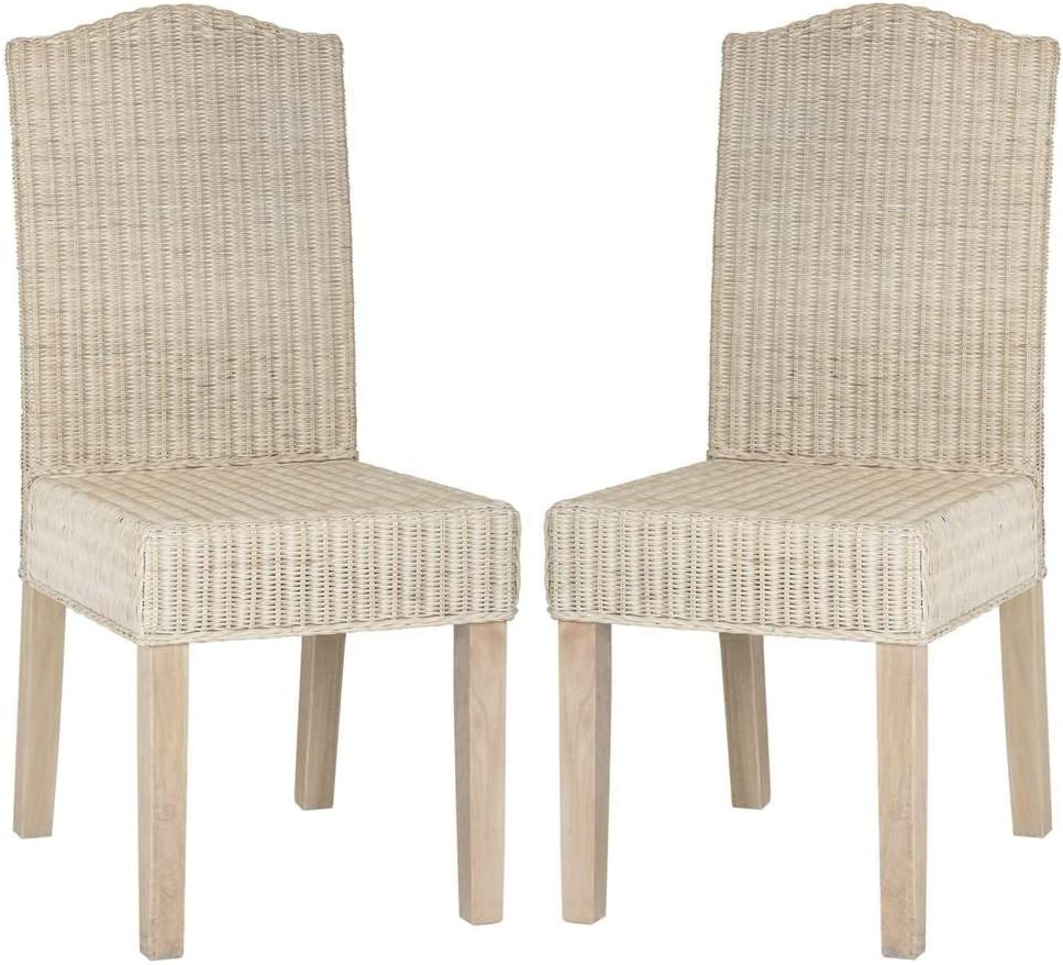 """Safavieh Home Collection Odette White Wash Wicker Dining Chair (Set of 2), 19"""""""