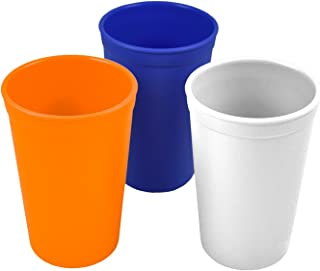 product image for Re-Play 3pk - 9oz. Drinking Cups | Made in USA from Eco Friendly Heavyweight Recycled Milk Jugs - Virtually Indestructible | for All Ages | Orange, Navy Blue, White | Sport