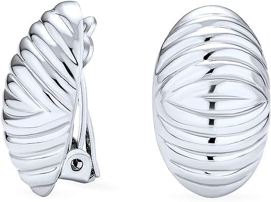 vintage Modern handmade Sterling silver clip on 925 button earrings