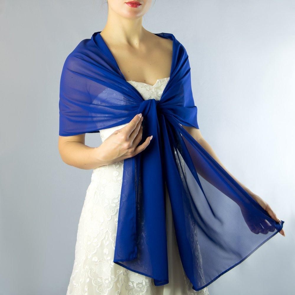 Châle Écharpe Étole Chiffon Femme Mariage sur Robe de Soirée Mariée en bleu marine