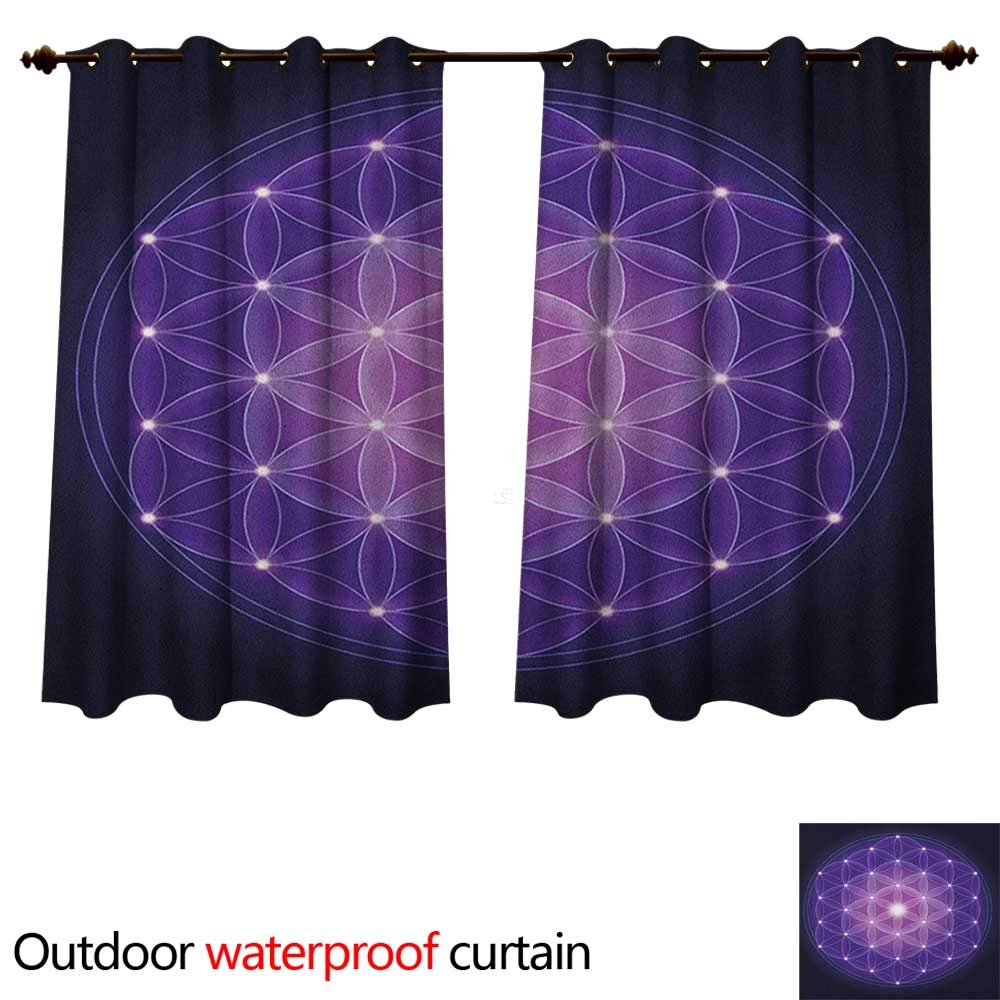 Dark Blue Home Patio Outdoor Curtain Flower of Life with Stars Spiritual Symbol Sacred Geometry Ancient W96 x L72(245cm x 183cm)