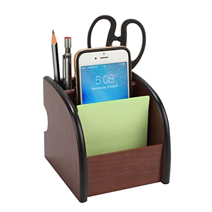 Samplus Mall Label Wooden Pen Stand And Stationary Holder Brown