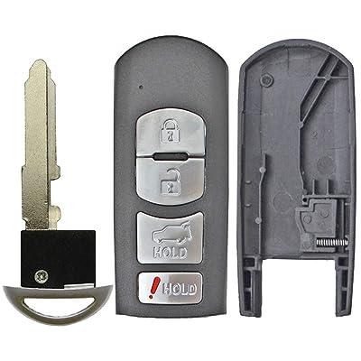 QualityKeylessPlus Replacement Remote Case 4 Button Pad Uncut Insert Key Blade for Mazda Smart Proximity Fob FCC WAZX1T763SKE11A04 WAZSKE13D01 WAZSKE13D02 (1): Automotive