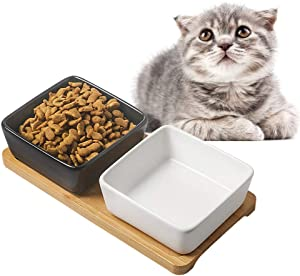 Cat Bowl Cat Food Bowls, Mini Double Dog Bowl Premium Ceramic Pet Bowls, Mini Plates, with Wooden Square Bracket Cute Modeling Pet Food Water for Feeder Hamsters Rabbit Puppy Small Animals and Pets