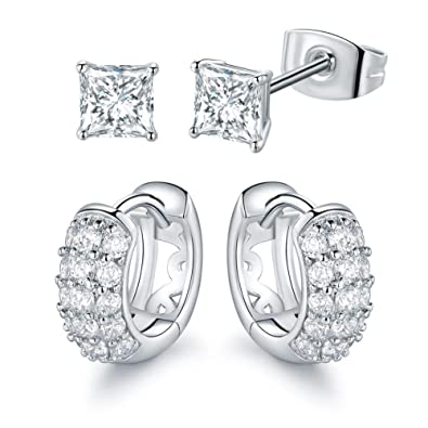 a2105746d Buy VOLUKA 2 Pairs Small Hoop Earrings and CZ Stud Earrings White Gold  Plated Princess Brilliant Cut Cubic Zirconia for Men Women and Girls Online  at Low ...