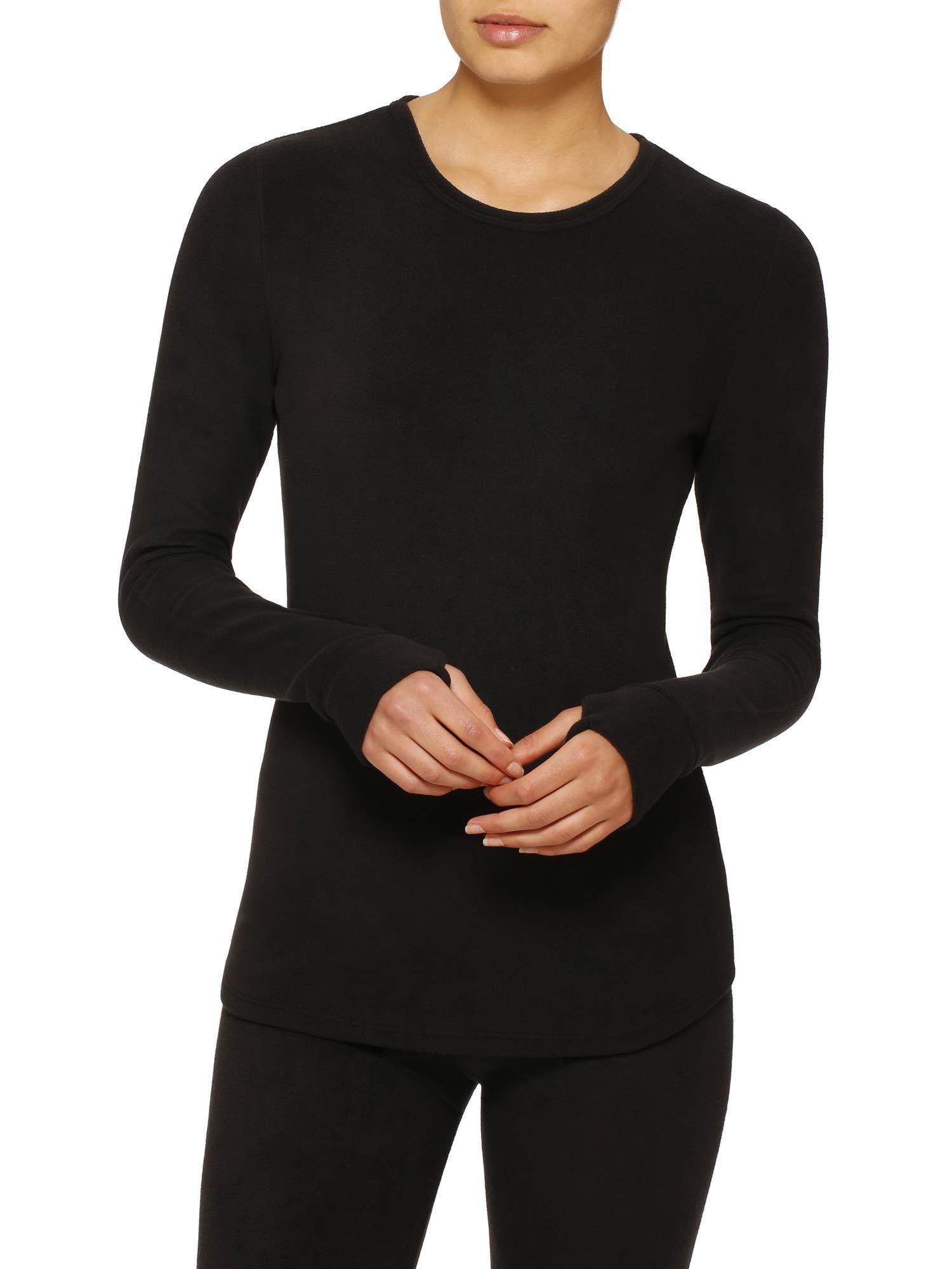 Cuddl Duds ClimateRight Women's Stretch Fleece Warm Underwear Long Sleeve Top (2XL - Black) by Cuddl Duds