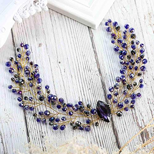 Unicra Boho Purple Wedding Bridal Crystal Headbands Angel Wings Wedding Hair Vine Accessories for Brides and ()