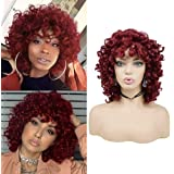 Short Afro Curly Synthetic Hair Wigs for Black Women Phoenixfly African Loose Curly Fluffy Shoulder Length Natural Looking Hair Wigs Heat Resistant Hair Replacement Wigs with Wig Caps