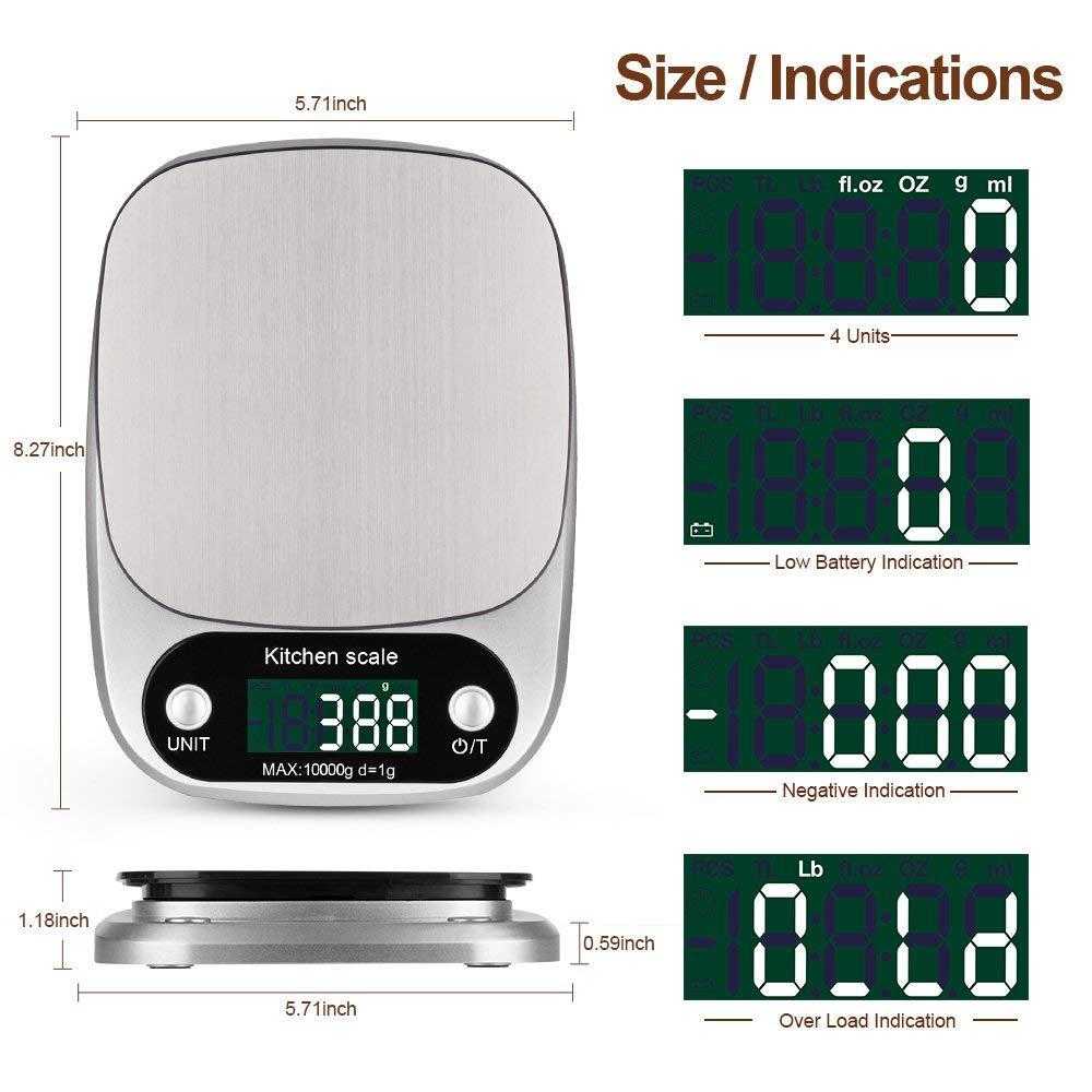 Elektronische Lebensmittel-Küchenwaage-Edelstahl-Plattform mit LCD-Bildschirm