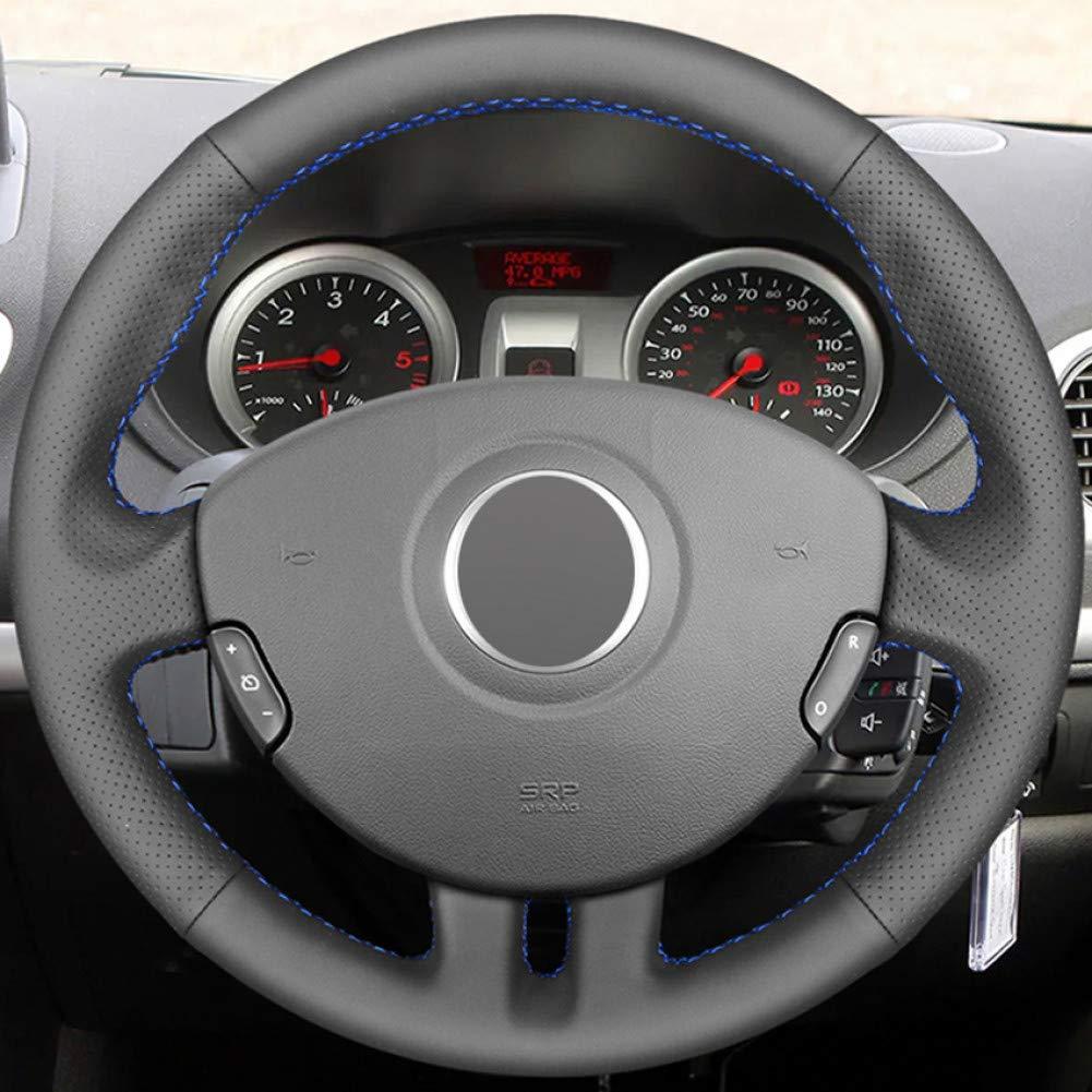 WENIHDJKA Negro PU imitaci/ón Cuero DIY Cosido a Mano Cubierta del Volante del Coche para Renault Clio 3 2005-2013 Clio 3 RS 2005-2013