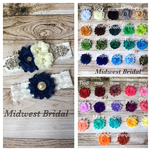 You pick color!!! Handmade Ivory Lace Rhinestone Custom Wedding Garter Vintage Rustic Shabby Chic coral brown teal red black blue navy pink green