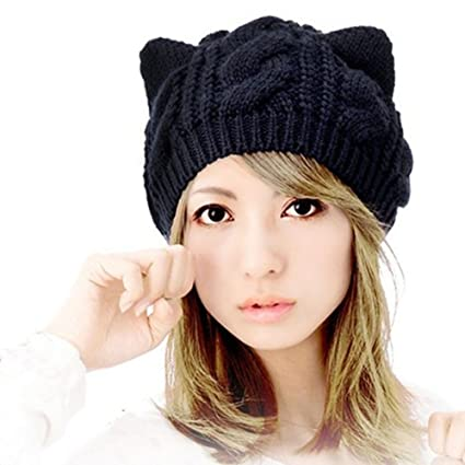 d5a5be5fde875 Amazon.com  Fashion Women Girl Warm Winter Fall Wool Crochet Baggy Beret  Beanie Hat Caps Cute Devil Horn Cat Ear Shape Knitted Hats Elastic Outdoor  (Black)  ...