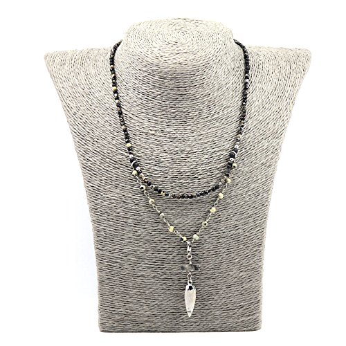 Beaded Necklace Designs (Tom+Alice New Design Mother's Day Gift Natural Stone Beaded Agate Bullet Pendant Necklace for Mom Handmade Jewelry for Women Black Silver)
