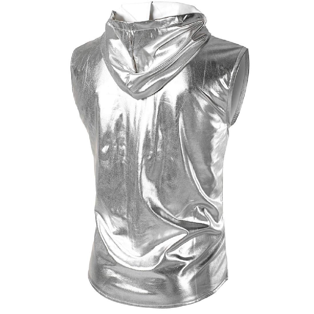 Abetteric Mens Hoodie Zip Up Metallic Slim Fit Nightclub Suit Separate Vest