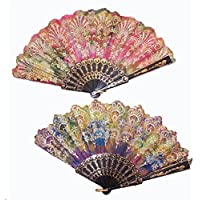 12 ( 1 Dozen ) Bulk LOT Lace Rainbow Glitter Womens Pocket Hand Fan