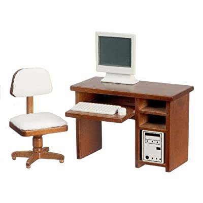 Melody Jane Dollhouse Walnut Computer Desk & Chair Miniature Study Office Furniture Set: Toys & Games