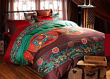 million bedclothes bohemian boho plain cover set romantic soft pcs bedding sleepwish size queen product duvet twill posture mandala