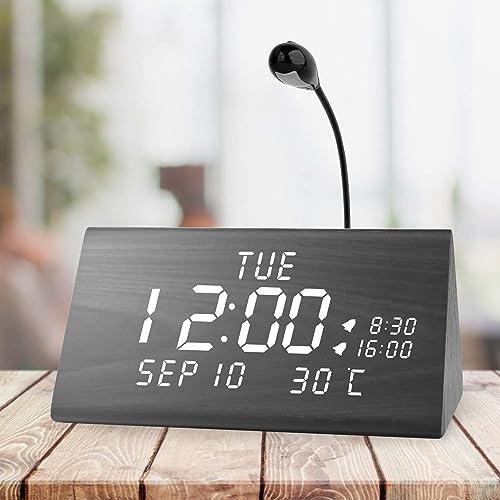 MEKO Wood Digital Alarm Clocks for Bedrooms, Larger LED Display, 3 Levels Brightness, Dual Alarms, 3 Levels Volume Snooze Function and Nightlight Wooden Electric Besides Clock