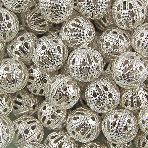 lver Plated Hollow Filigree Round Ball Metal Spacer Beads Package of 200! (8MM) (Silver) ()