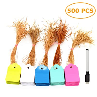 500 Pcs 5 x 7 cm Plastic Hanging Tags Display Tags with Hanging String Colorful Garden Labels with Marker Pen: Industrial & Scientific