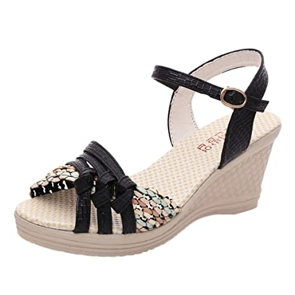 f6179a43c0fe Amazon.com  DaoAG - Shoes Womens Bohamian Sandals Buckle Wedge Sandals  Leather Peep Toe Boho Sandles Casual Summer Beachshoes for Women   Girls   Sports   ...