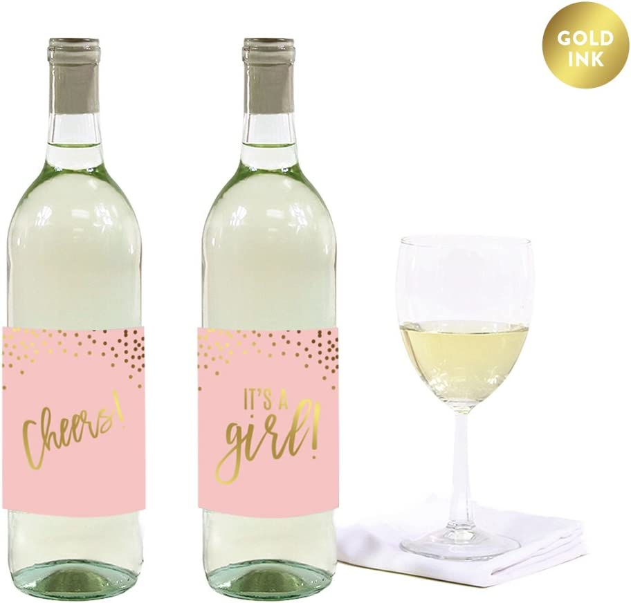 Andaz Press Blush Pink and Metallic Gold Confetti Polka Dots Baby Shower Party Collection, Wine or Apple Cider Bottle Labels, 8-Pack