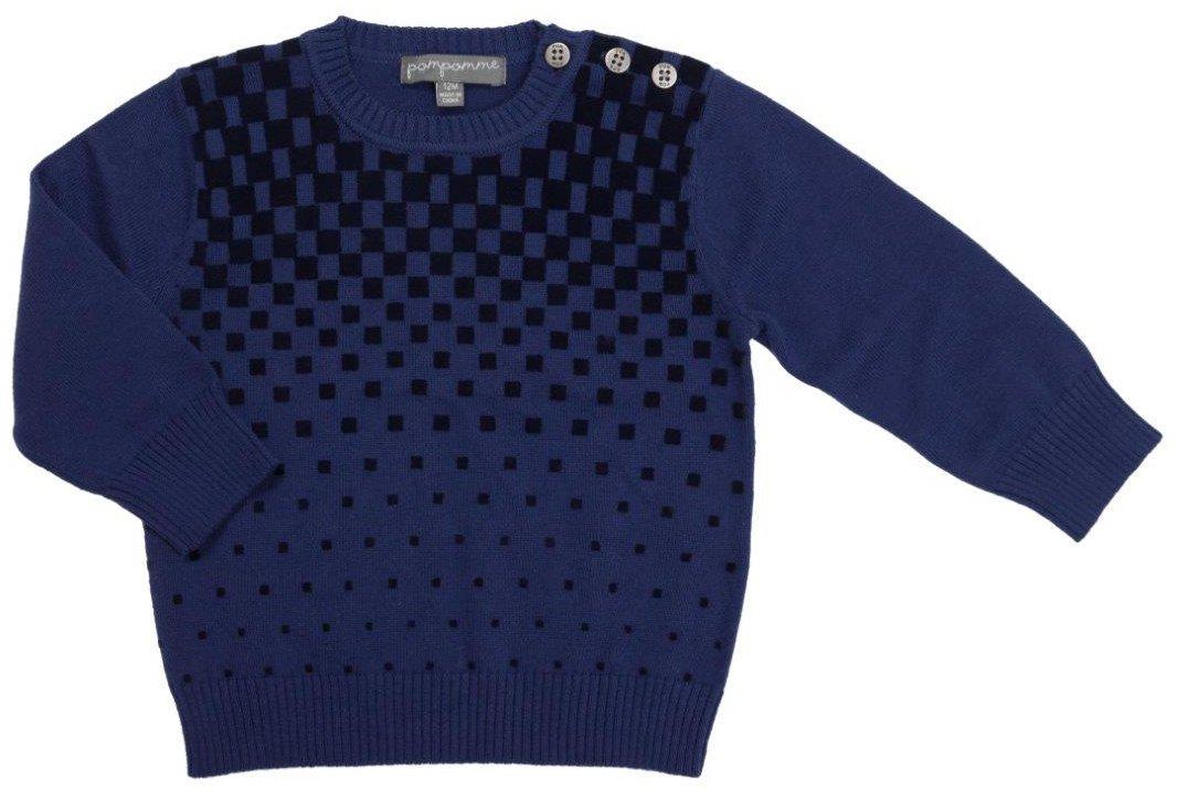 Pompomme Boy's flocking velvet print cotton sweater w/button shoulder (5 Yr)