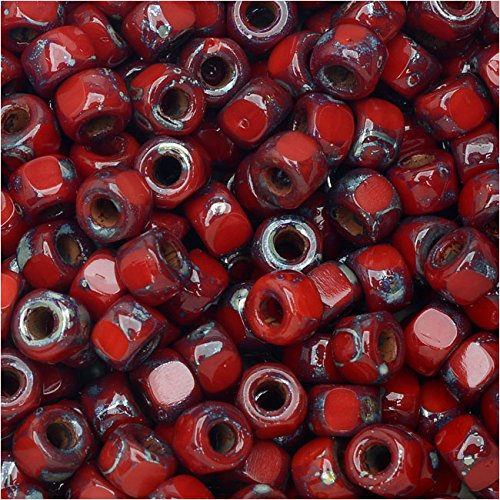 Tri-Cut 6/0 Seed Beads, 8 Grams, Opaque Coral Red Picasso ()
