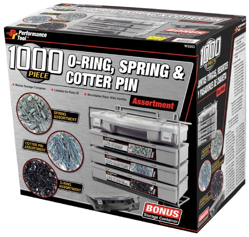 (Performance Tool W5353 O-Ring, Spring, Cotter Pin, Assortment With Mountable Rack (1000-Piece Set))