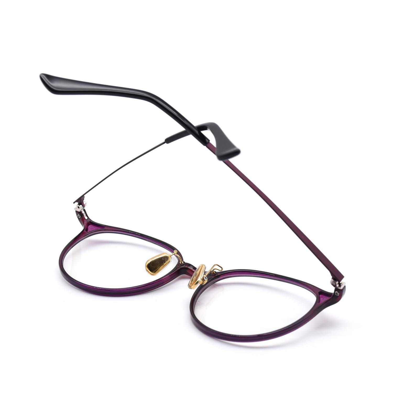 HKUCO Classic Stylish Clear Lens Frame Glasses Purple Circle Frame