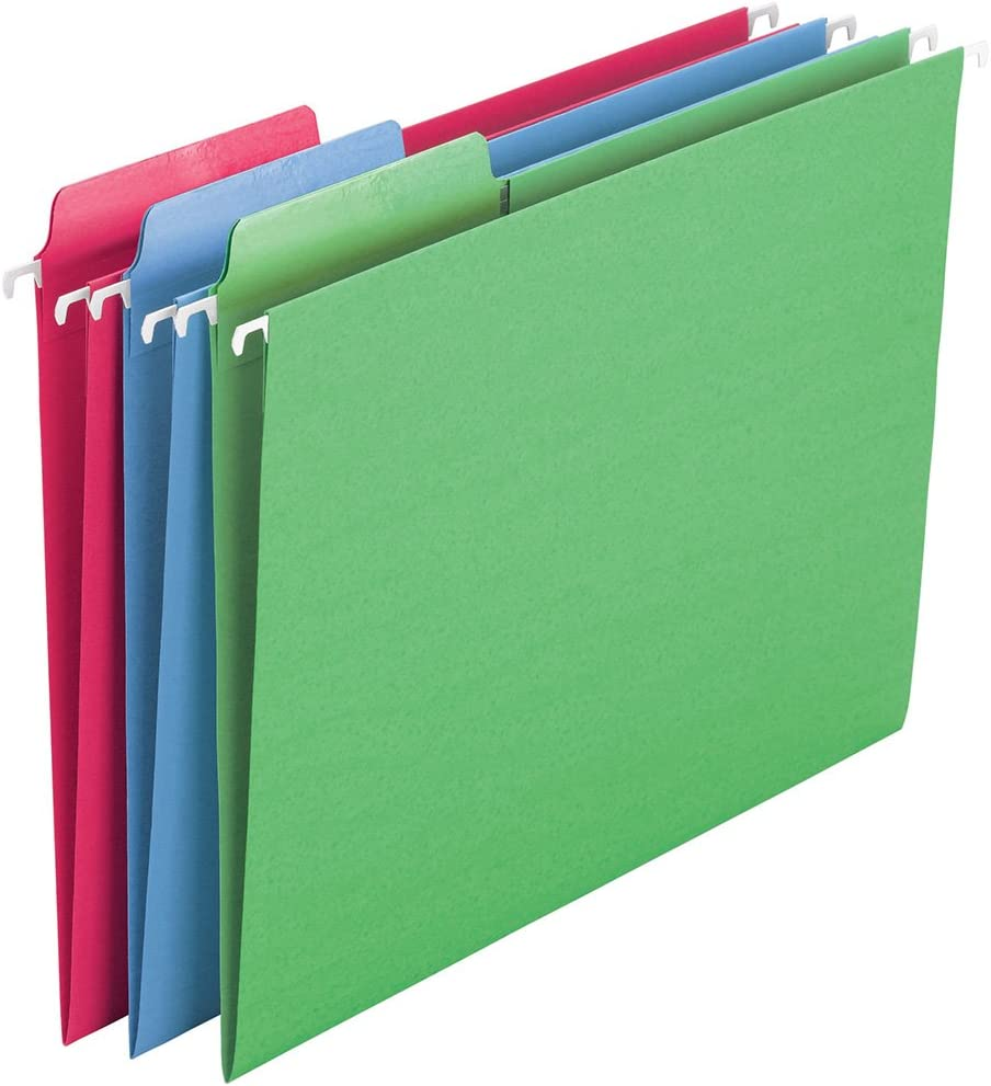 Smead Erasable FasTab Hanging File Folder, 1/3-Cut Built-in Tab, Letter Size, Assorted Colors, 18 per Box (64031)