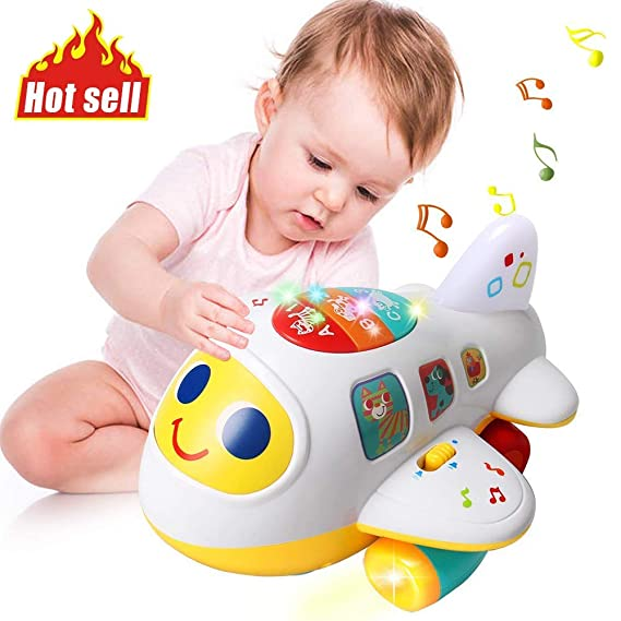Baybee Baby Music Toys Electronic Airplane Toys for Kids Bump and Go Plane with Lights Music Sounds Activity Play Center, Kids Educational Toys for Toddlers Boys and Girls 1 2 3 Year Old