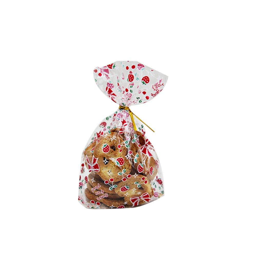 50x chytaii Borsa Shopper Busta per imballaggio Conservazione Alimentare impermeabile trasparente per torte biscotti caramelle popcorns in plastica decorazione di regalo anniversario, S