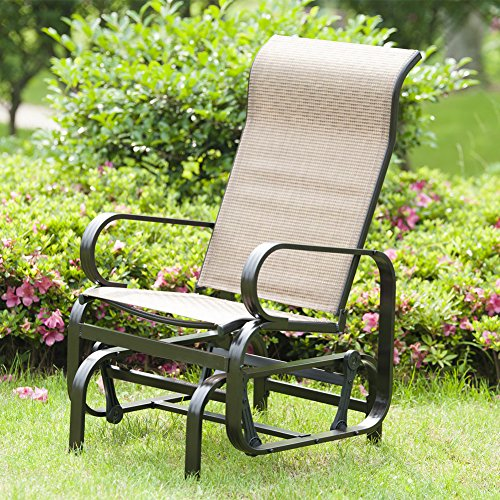 Patiopost sling glider outdoor patio chair textilene mesh for Outdoor furniture glider