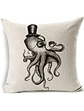 """HomeChoice Cotton Linen Sea Cretures Octopus In Black And White Durable Home Square Decorative Throw Pillow Cover Accent Cushion Cover Pillow Shell Bed Pillow Case 18 By 18 Inches (18""""X18"""")"""