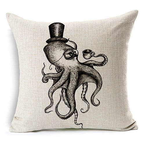 (HomeChoice Cotton Linen Sea Cretures Octopus In Black And White Durable Home Square Decorative Throw Pillow Cover Accent Cushion Cover Pillow Shell Bed Pillow Case 18 By 18 Inches (18