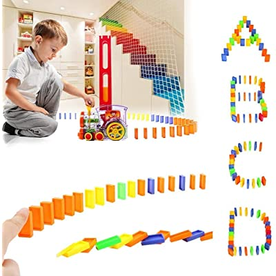 Domino Train, Domino Blocks Set, Train Model with Lights and Sounds Construction and Stacking Toys for 3-7 Year Old Children: Toys & Games