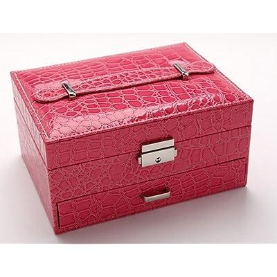 Étui cosmétique HWF Boîte à bijoux boîte de rangement en cuir boîte de finition Organisateur (Couleur : E)