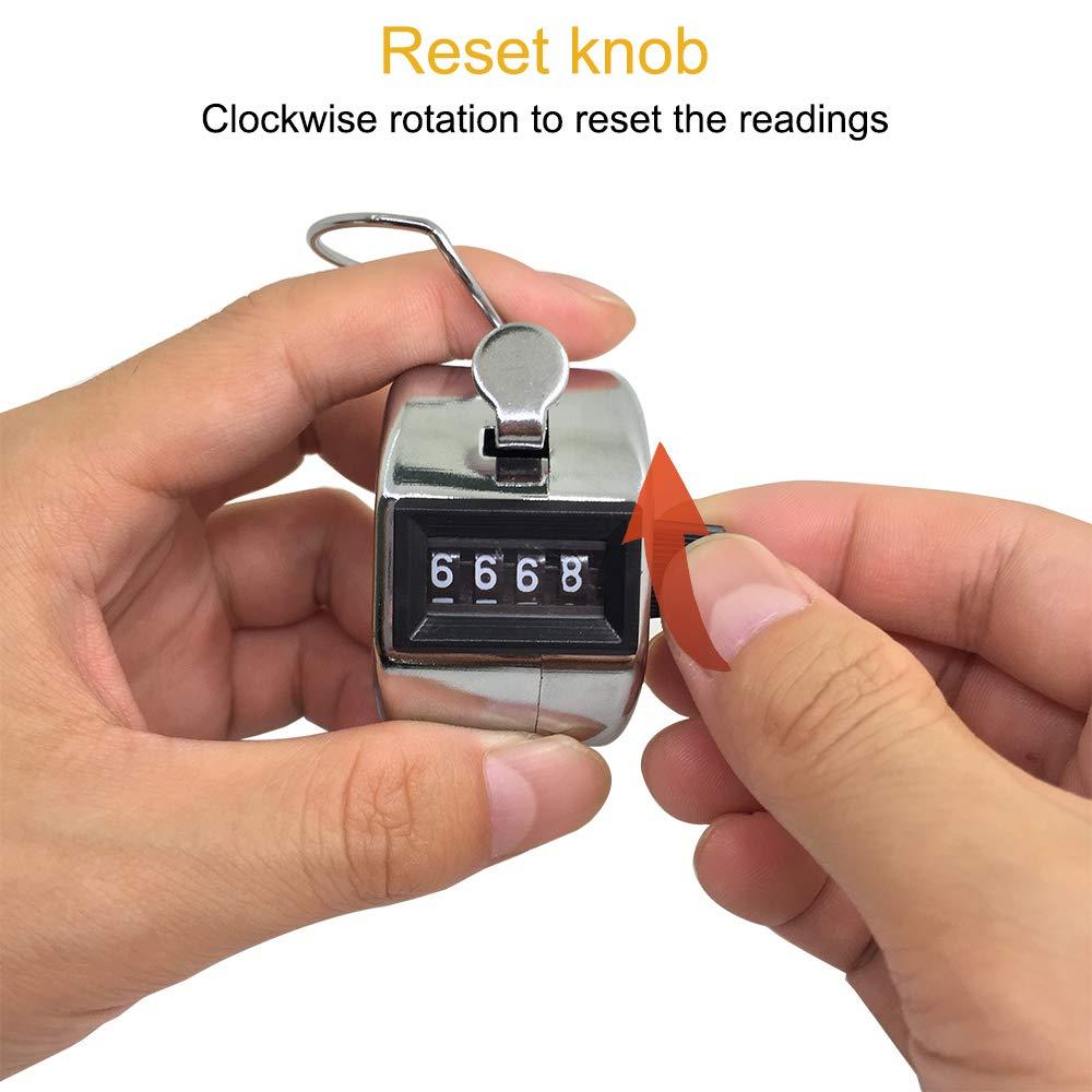 Colore: Argento meccanismo Manuale con clicker e Anello in Metallo per Allenatore da Stadio Set di 4 contatori manuali a 4 cifre e 4 cordini AFUNTA