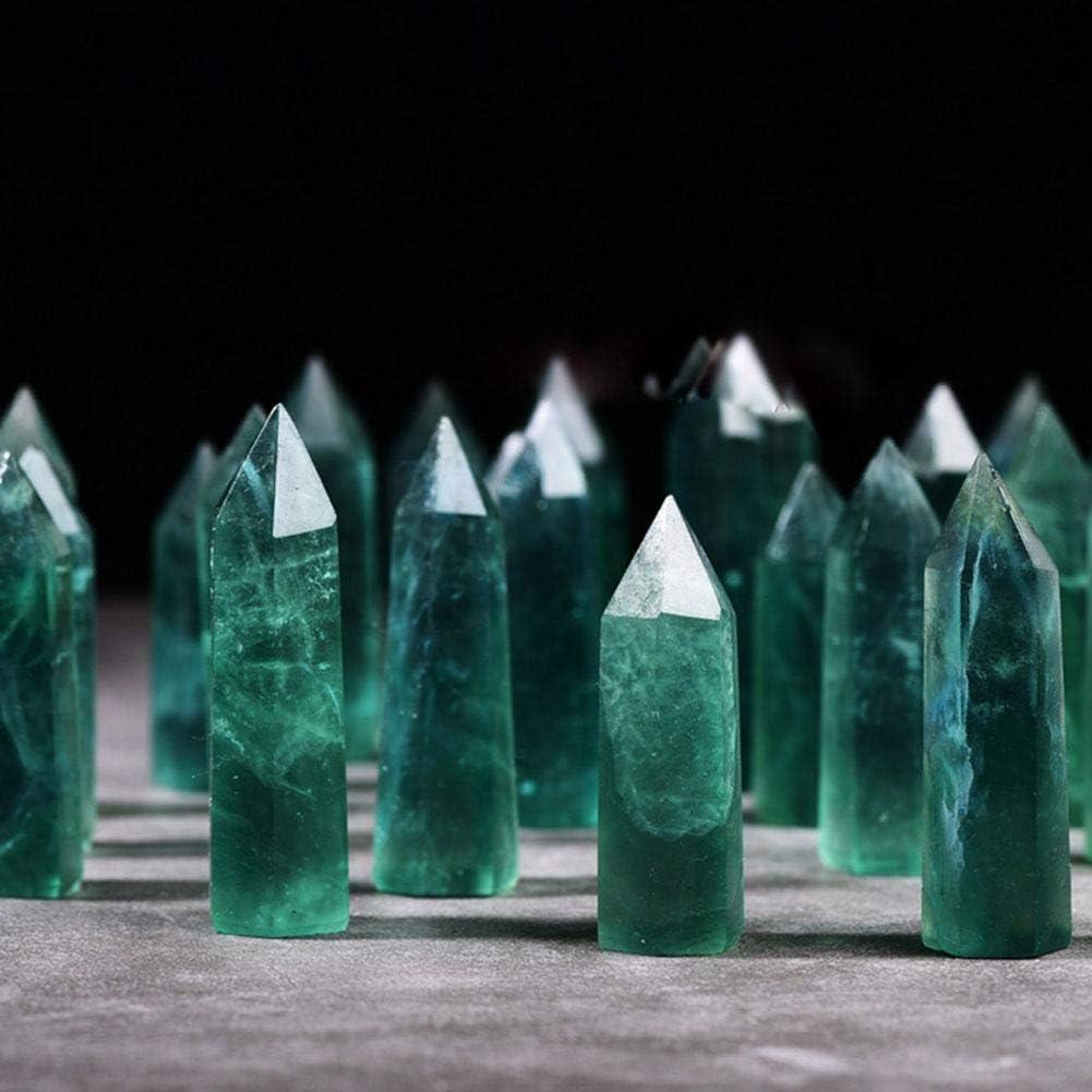 Wifehelper Cristal Cuarzo Fluorita Verde Natural Columna de Cristal Hexagonal Fluorita Energía Piedra Decoración del Hogar